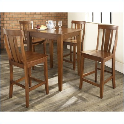 Crosley Furniture 5 Piece Pub Dining Set with Tapered Leg and Shield Back Stools in Classic Cherry Finish