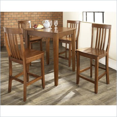 Crosley Furniture 5 Piece Pub Dining Set with Tapered Leg and School House Stools in Classic Cherry Finish