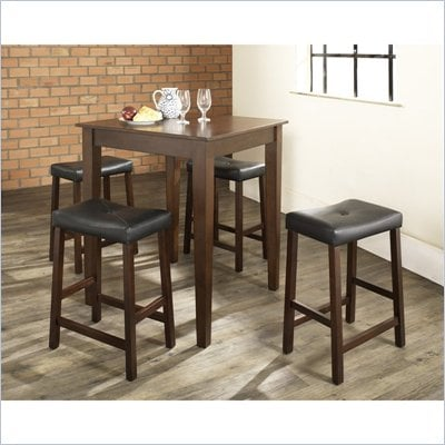 Crosley Furniture 5 Piece Pub Dining Set with Tapered Leg and Upholstered Saddle Stools in Vintage Mahogany Finish