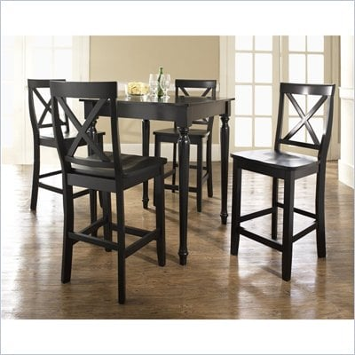 Crosley Furniture 5 Piece Pub Dining Set with Turned Leg and X-Back Stools in Black Finish