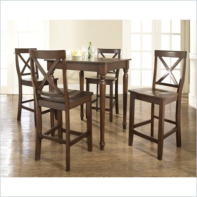 Crosley Furniture 5 Piece Pub Dining Set with Turned Leg and X-Back Stools in Vintage Mahogany Finish