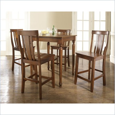 Crosley Furniture 5 Piece Pub Dining Set with Turned Leg and Shield Back Stools in Classic Cherry Finish