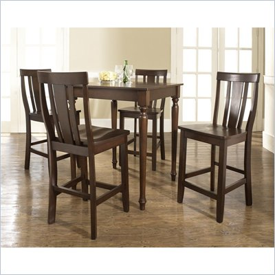 Crosley Furniture 5 Piece Pub Dining Set with Turned Leg and Shield Back Stools in Vintage Mahogany Finish