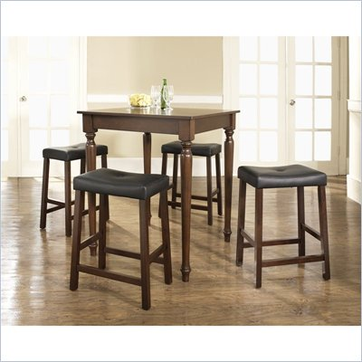 Crosley Furniture 5 Piece Pub Dining Set with Turned Leg and Upholstered Saddle Stools in Vintage Mahogany Finish
