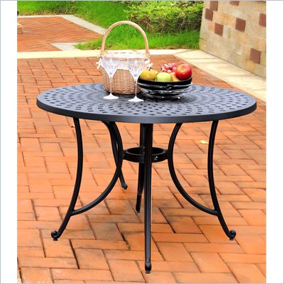 Crosley Furniture Sedona 42&quot; Aluminum Dining Table in Charcoal Black