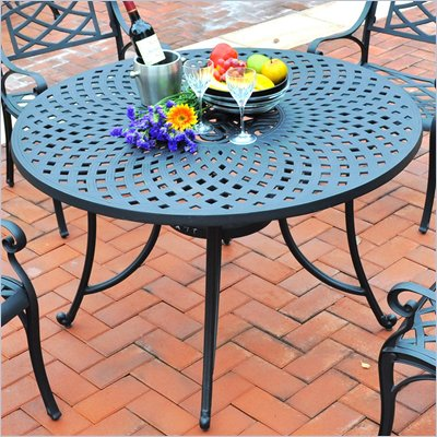 "Crosley Furniture Sedona 48"" Aluminum Dining Table in Charcoal Black"