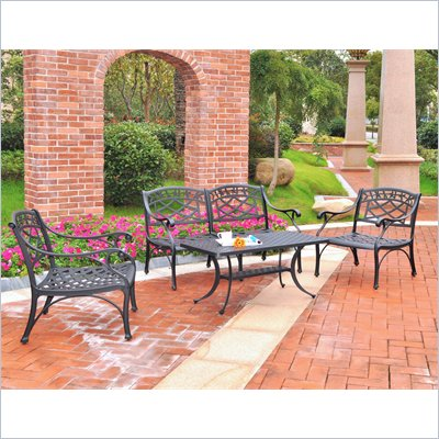 Crosley Furniture Sedona 4 Pc Black Outdoor Conversation Seating Set