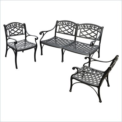 Crosley Furniture Sedona 3 Pc Black Outdoor Conversation Seating Set