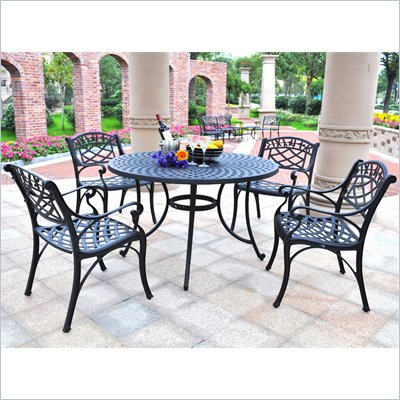 "Crosley Furniture Sedona 48"" 5 Pc Dining Set w/ Arm Chairs in Black"