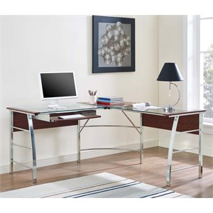 Ameriwood Home Wingate Glass Top L Shaped Computer Desk in Cherry