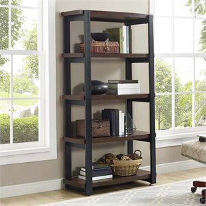 Ameriwood Home Castling 4 Shelf Bookcase in Espresso and Black