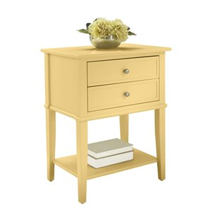 Ameriwood Home Franklin 2 Drawer Accent Table in Yellow