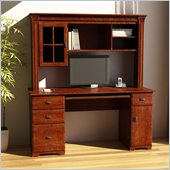 Ameriwood Wood Front Computer Desk and Hutch in Mohawk Maple