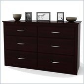 Ameriwood Six Drawer Double Dresser in Black Forest