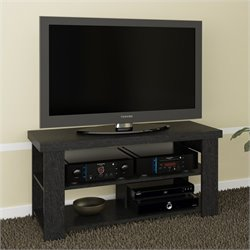Ameriwood 47 Hollow Core TV Stand in Black Ebony Ash