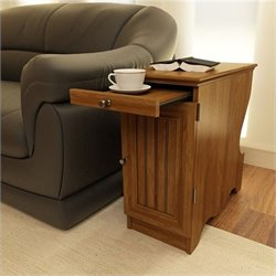 Ameriwood Chair Side Table with Storage Magazine in Bank Alder Finish