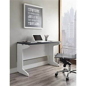 Altra Furniture Pursuit Bridge Work Table in White and Gray