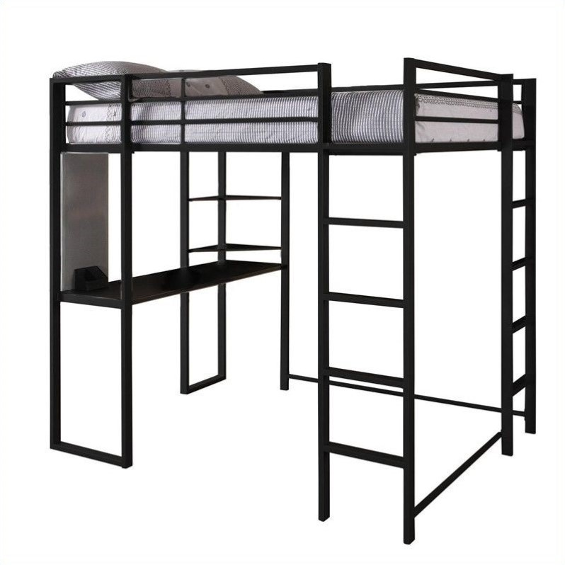 Dhp abode metal full loft bed in black with desk Black bunk beds