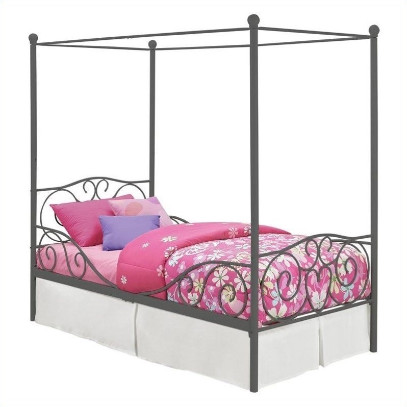 Ameriwood Canopy Twin Metal Pewter Kids Bed Ebay