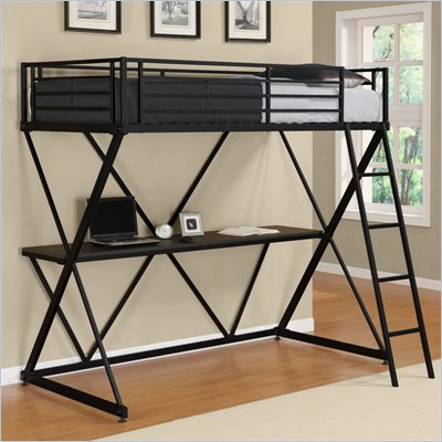 DHP X-Shaped Twin Metal Loft Bunk Bed in Black