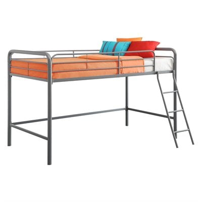 DHP Junior Metal Loft Bunk Bed in Silver