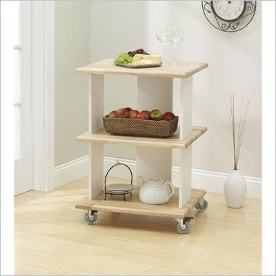 Ameriwood Butcher Block Kitchen Storage Cart in Dreamy Oak Cream