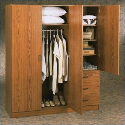 Ameriwood Systembuild Wardrobe Armoire in Oak