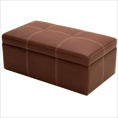 DHP Delaney Large Rectangular Ottoman in Coffee Brown