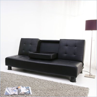 DHP Julia Faux Leather Futon with Cupholder in Black