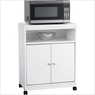 Ameriwood Mobile Microwave Cart in White