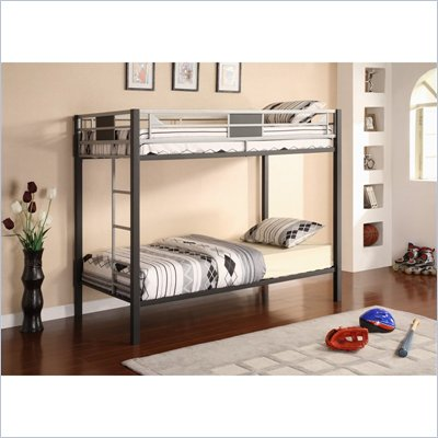 DHP Silver Screen Twin over Twin Bunk Bed in Black and Silver
