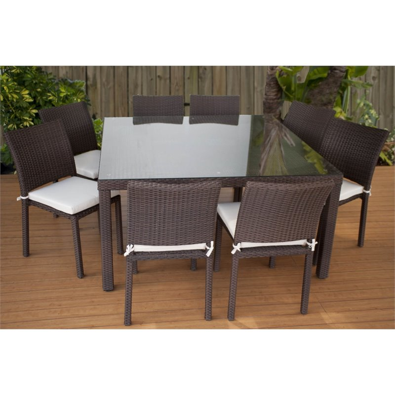 International Home Miami Atlantic 9 Piece Dining Set in Off White