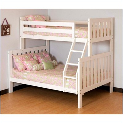 Canwood Alpine II Twin over Full Bunk Bed w/ Ladder/Guard Rail in White