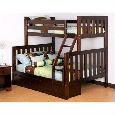 Canwood Alpine II Twin over Full Bunk Bed w/ Ladder/Guard Rail in Espresso