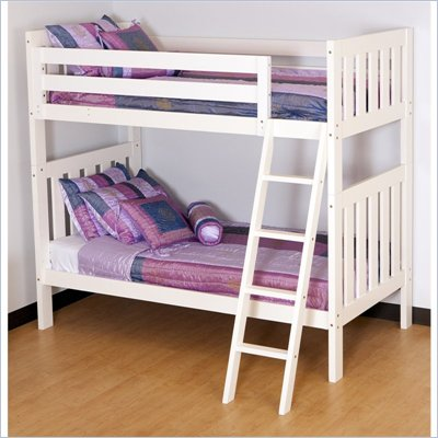 Canwood Alpine II Twin over Twin Bunk Bed w/ Angled Ladder/Guard Rail in White