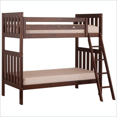 Canwood Alpine II Twin over Twin Bunk Bed w/ Angled Ladder/Guard Rail in Cherry 