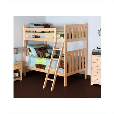 Canwood Alpine II Twin over Twin Bunk Bed w/ Angled Ladder/Guard Rail in Natural