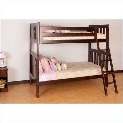Canwood Alpine II Twin over Twin Bunk Bed w/ Angled Ladder/Rail in Espresso