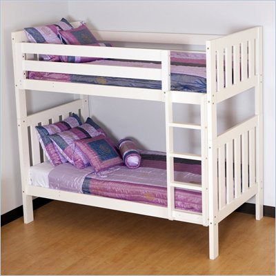 Canwood Alpine II Twin over Twin Bunk Bed w/ Vertical Ladder/Guard Rail in White
