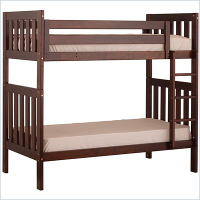 Canwood Alpine II Twin over Twin Bunk Bed w/ Vertical Ladder/Rail in Espresso