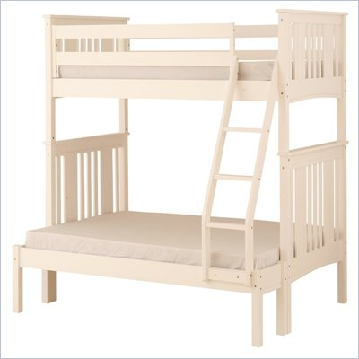 Canwood Base Camp Twin over Full Bunk Bed w/ Ladder/Guard Rail in White