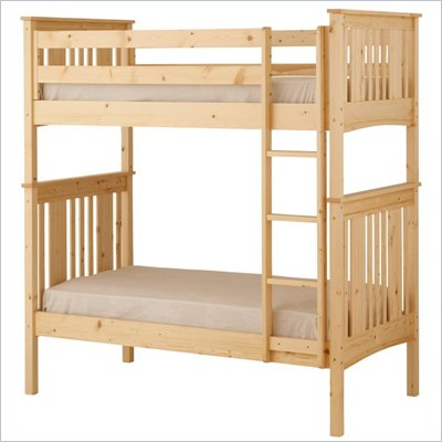 Canwood Base Camp Twin over Twin Bunk Bed w/ Vertical Ladder/Guard Rail in White