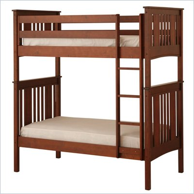 Canwood Base Camp Twin over Twin Bunk Bed w/ Vertical Ladder/Rail in Cherry 