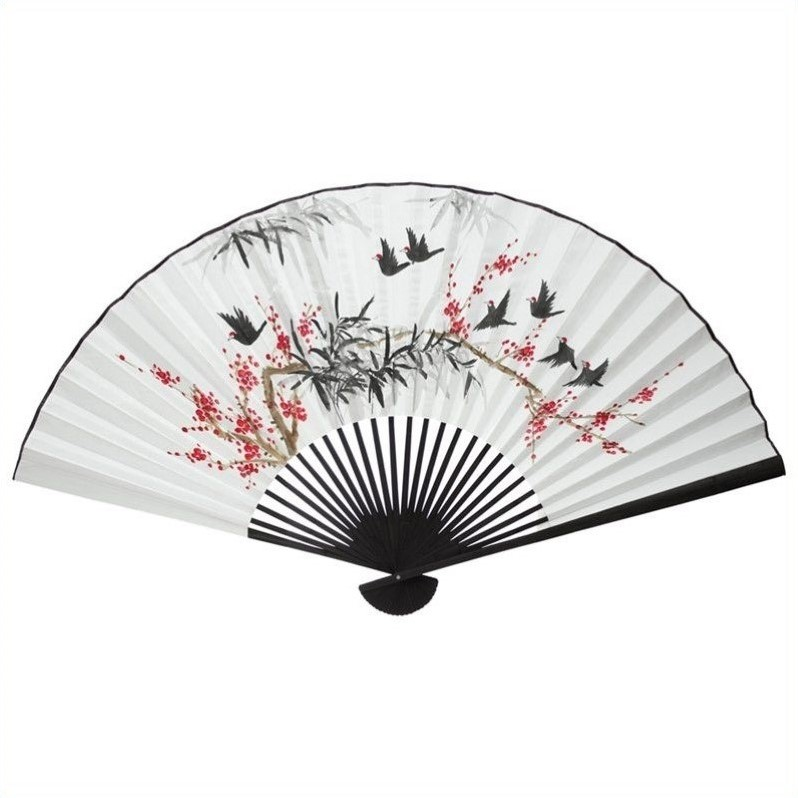 Oriental Furniture Red Flowers Birds Fan Decor White Wall