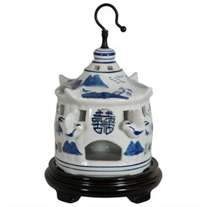"Oriental Furniture 11"" Landscape Bird Cage in Blue and Wh..."