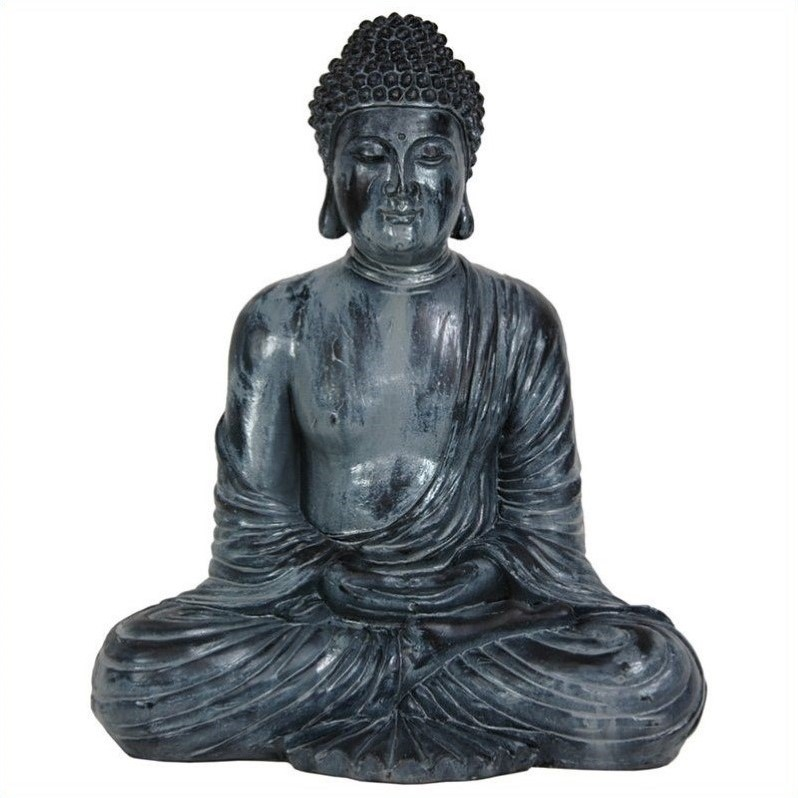 "Oriental Furniture 12"""" Japanese Sitting Buddha Statue in Bronze STA-BUD2"