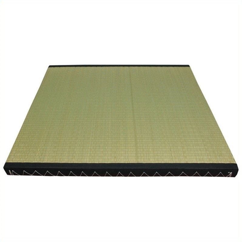 Oriental Tatami Mat Set in Beige and Tan-16 Piece