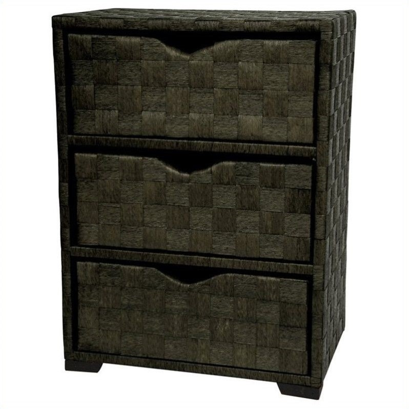 Oriental Furniture 3 Drawer Chest in Black