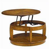 Hammary Ascend Round Lift Top Cocktail Table in Merlot