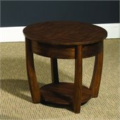 Hammary Concierge Round End Table in Brown
